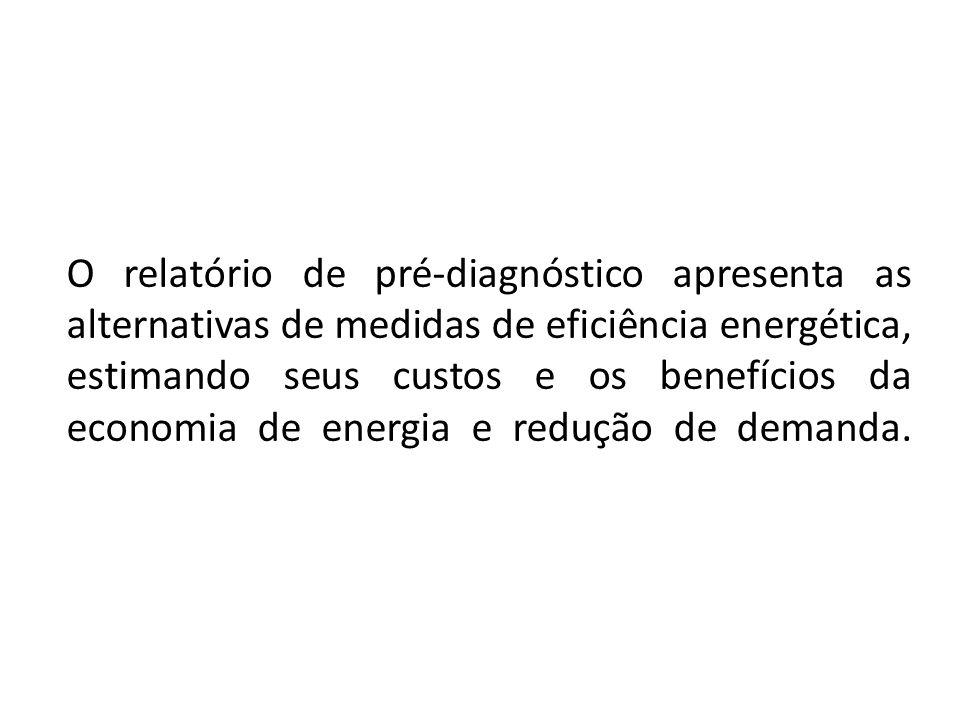 O relatório de pré-diagnóstico apresenta as alternativas de medidas de eficiência energética, estimando seus custos e os benefícios da economia de energia e redução de demanda.