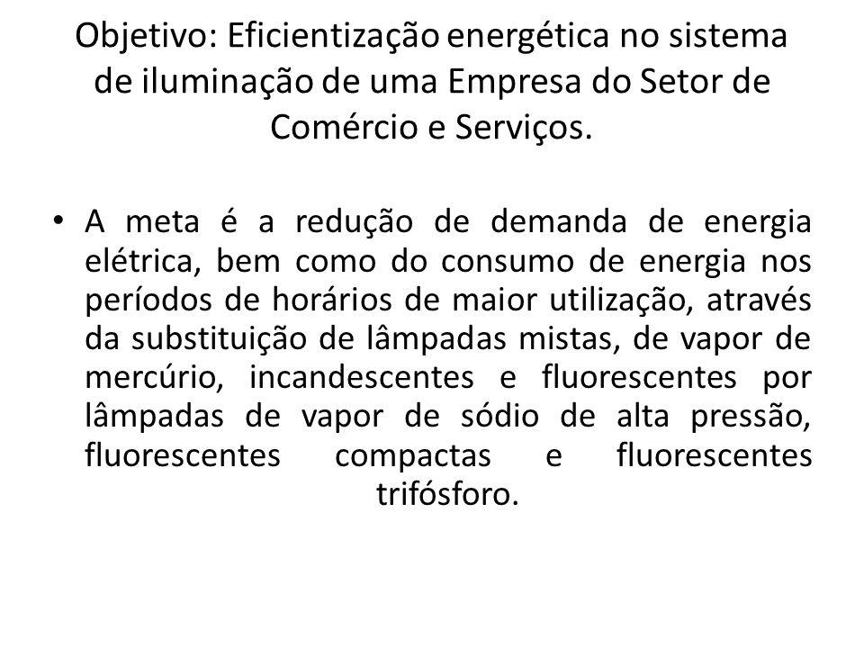 Objetivo: Eficientização energética no sistema de iluminação de uma Empresa do Setor de Comércio e Serviços.