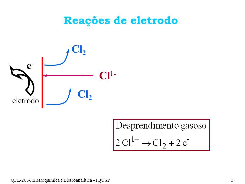 Reações de eletrodo Cl2 e- Cl1- eletrodo