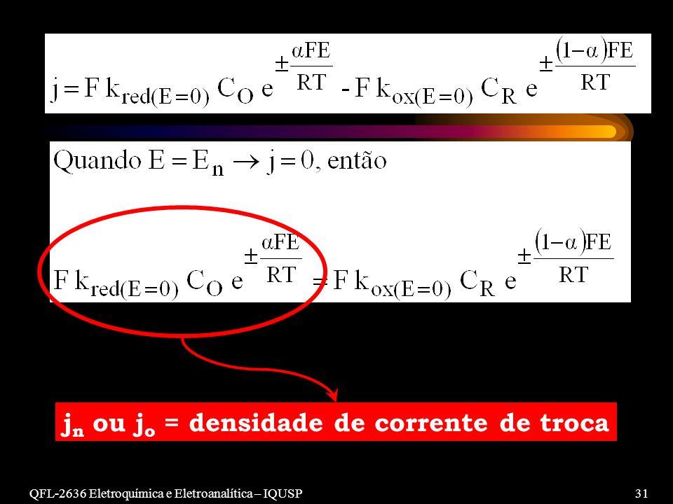 jn ou jo = densidade de corrente de troca