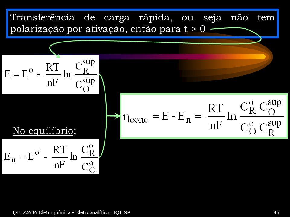 Transferência de carga rápida, ou seja não tem polarização por ativação, então para t > 0