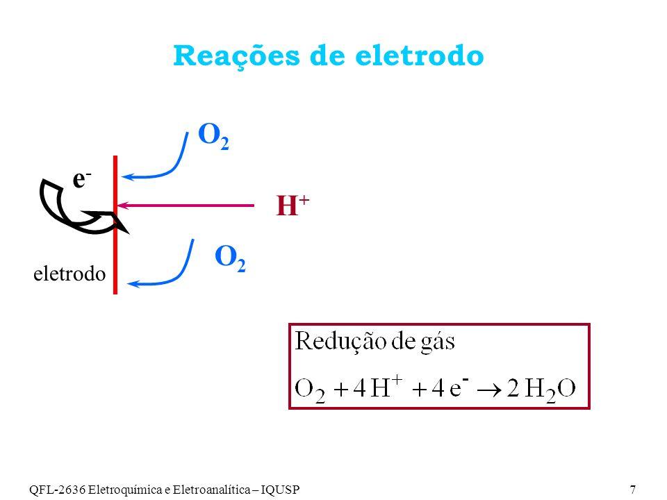 Reações de eletrodo O2 e- H+ O2 eletrodo