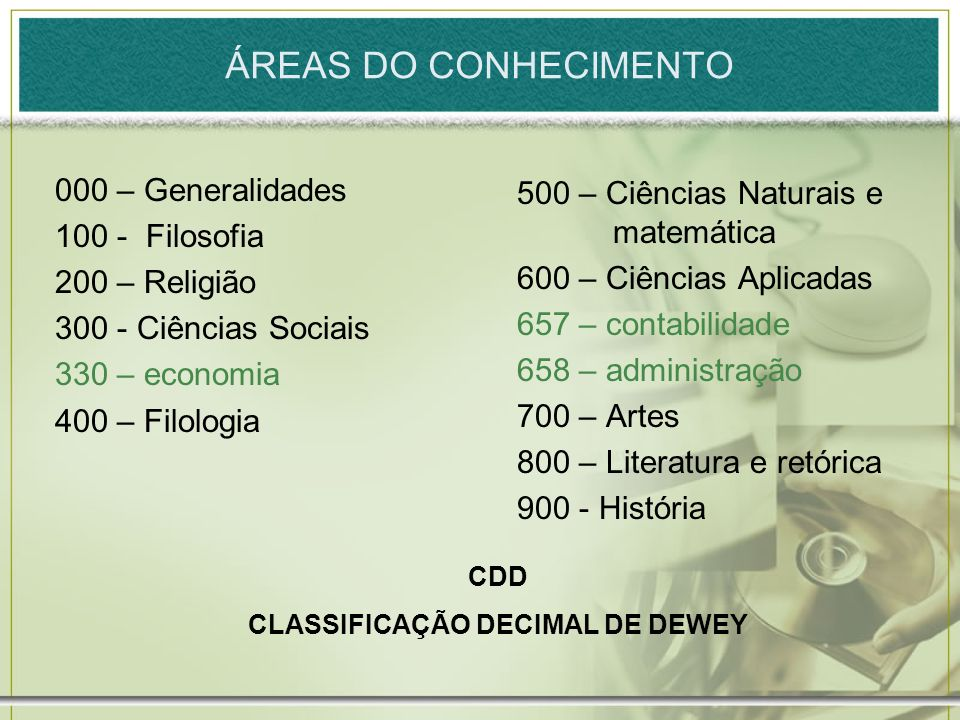 CLASSIFICAÇÃO DECIMAL DE DEWEY