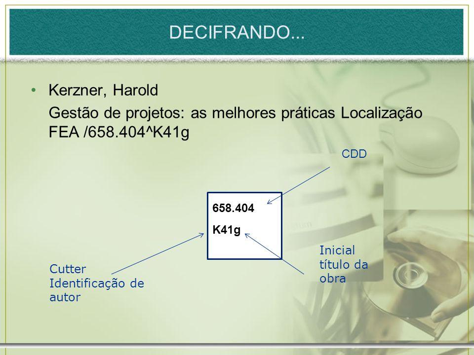 DECIFRANDO... Kerzner, Harold