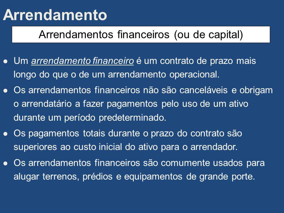 Arrendamentos financeiros (ou de capital)