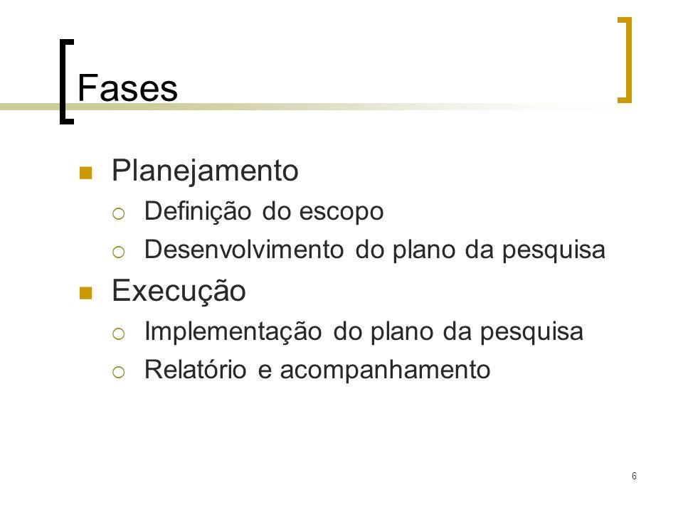 Fases Planejamento Execução Definição do escopo