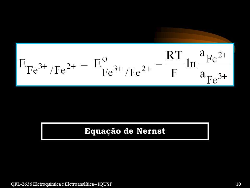 Equação de Nernst QFL-2636 Eletroquímica e Eletroanalítica – IQUSP 10