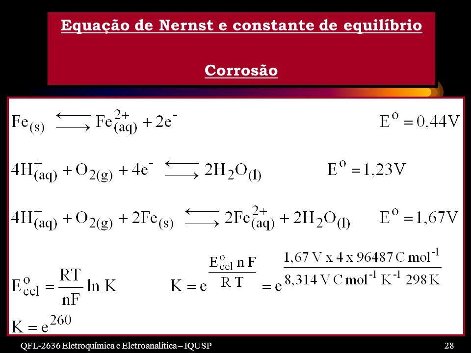 Equação de Nernst e constante de equilíbrio