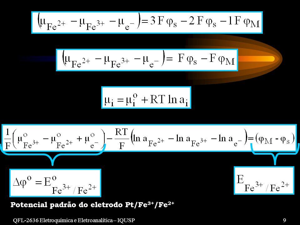 Potencial padrão do eletrodo Pt/Fe3+/Fe2+