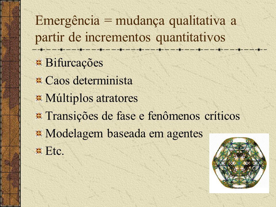Emergência = mudança qualitativa a partir de incrementos quantitativos