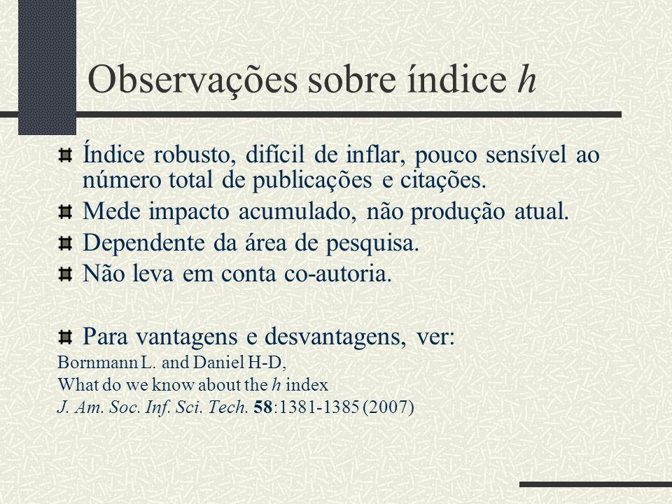 Observações sobre índice h