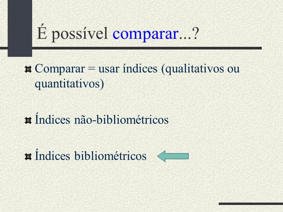 É possível comparar... Comparar = usar índices (qualitativos ou quantitativos) Índices não-bibliométricos.