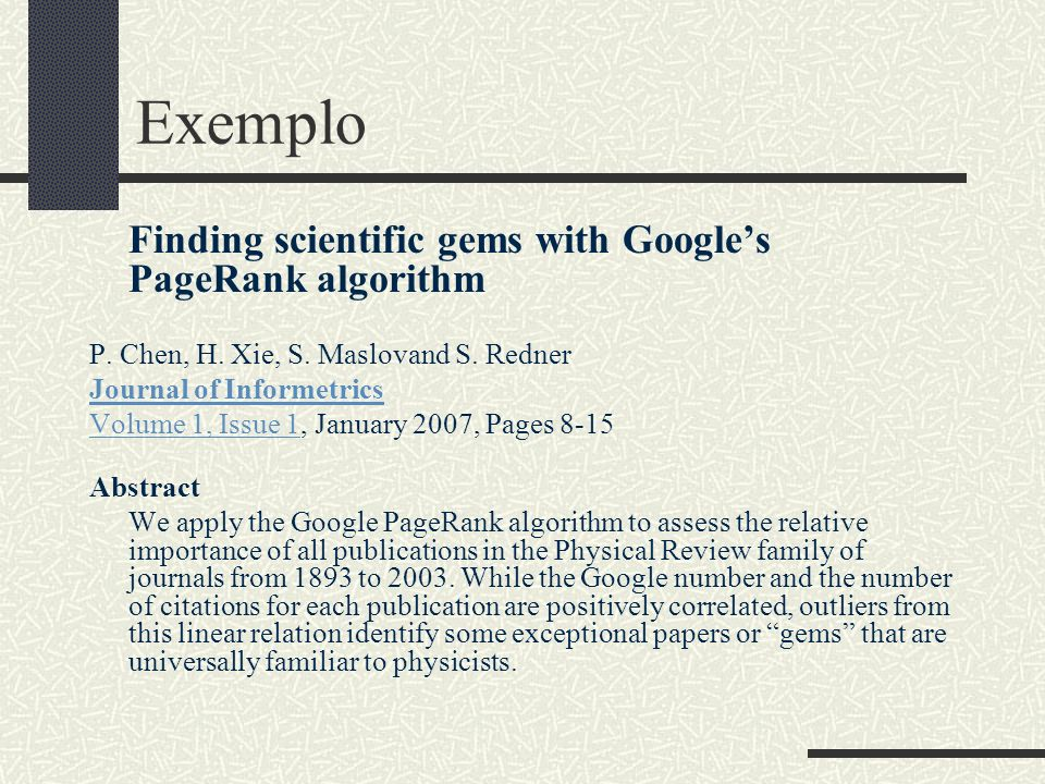 Exemplo Finding scientific gems with Google's PageRank algorithm