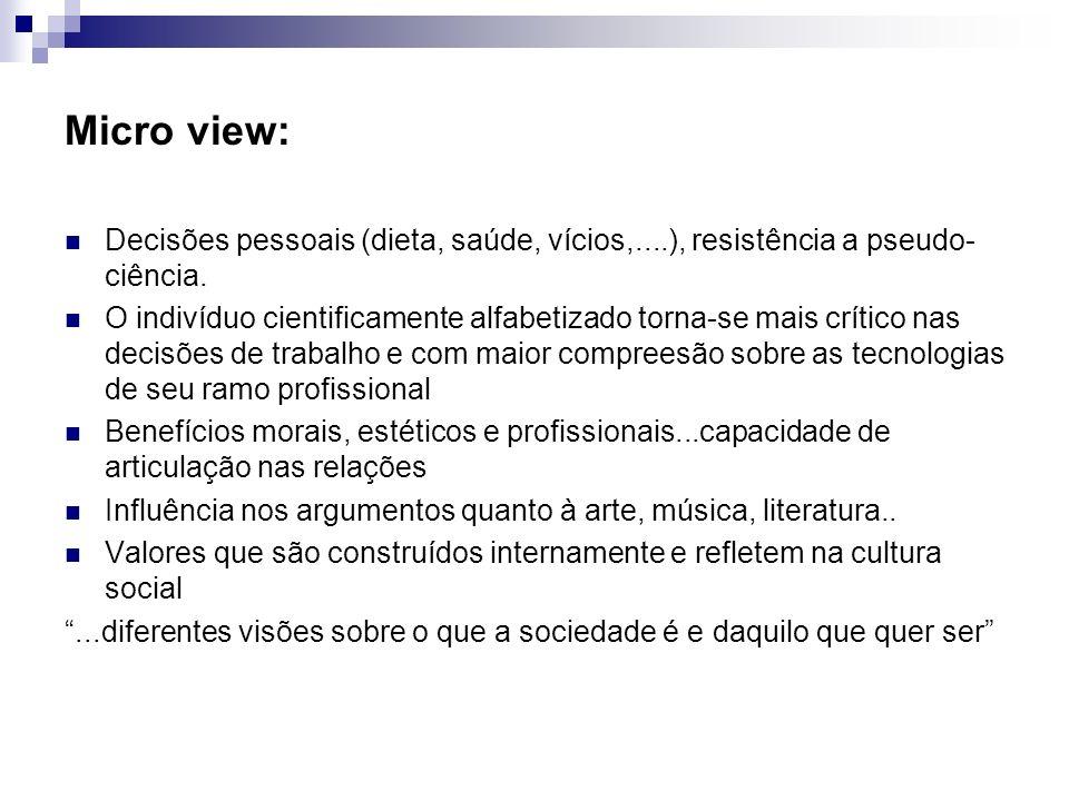 Micro view:Decisões pessoais (dieta, saúde, vícios,....), resistência a pseudo- ciência.