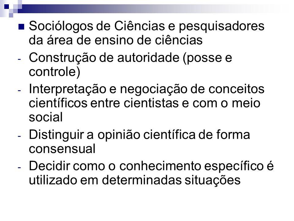 Sociólogos de Ciências e pesquisadores da área de ensino de ciências