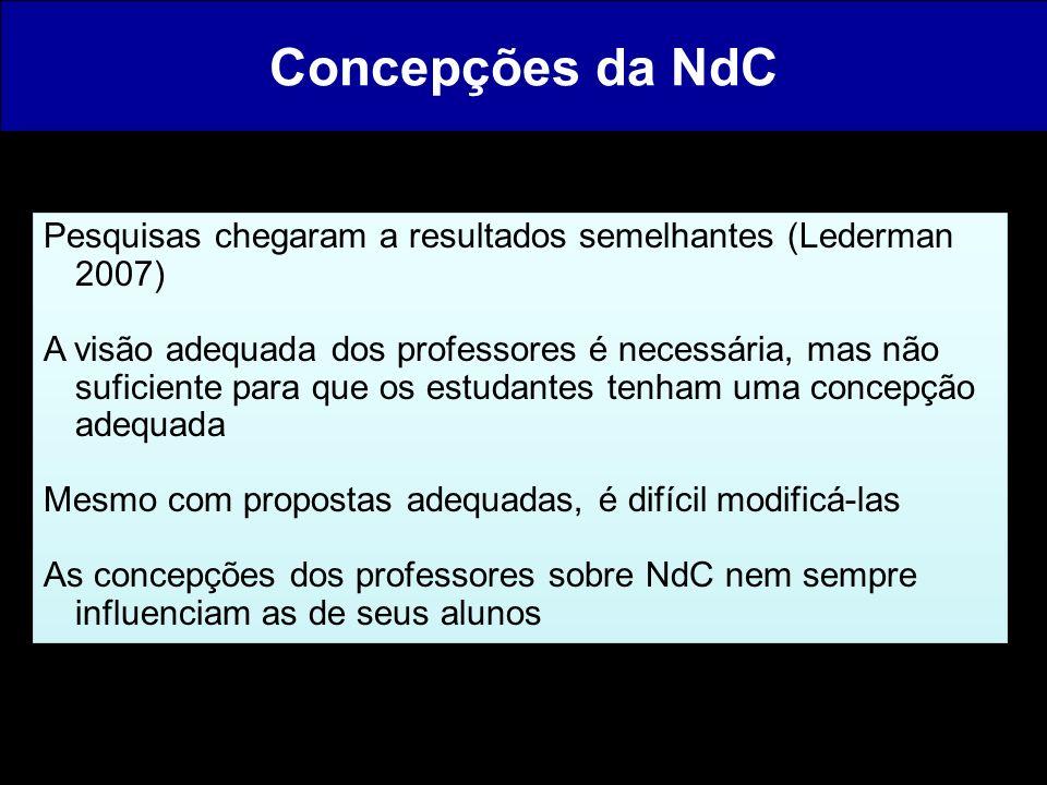 Concepções da NdC Pesquisas chegaram a resultados semelhantes (Lederman 2007)