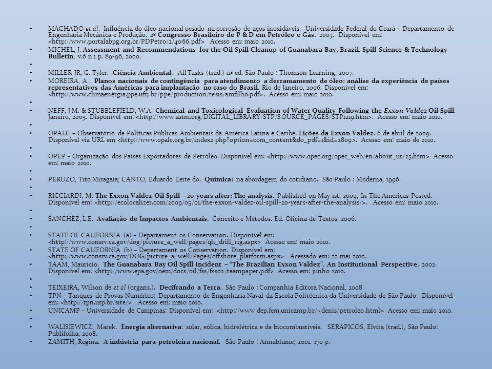MACHADO et al. Influência do óleo nacional pesado na corrosão de aços inoxidáveis. Universidade Federal do Ceará – Departamento de Engenharia Mecânica e Produção. 2º Congresso Brasileiro de P & D em Petróleo e Gás. 2003. Disponível em: <http://www.portalabpg.org.br/PDPetro/2/4066.pdf> Acesso em: maio 2010.