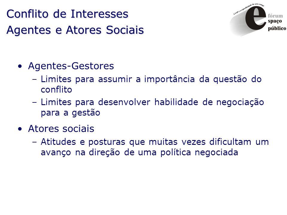 Conflito de Interesses Agentes e Atores Sociais