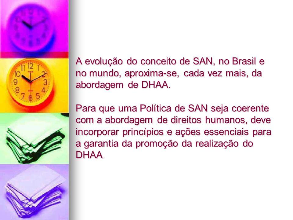 A evolução do conceito de SAN, no Brasil e no mundo, aproxima-se, cada vez mais, da abordagem de DHAA.