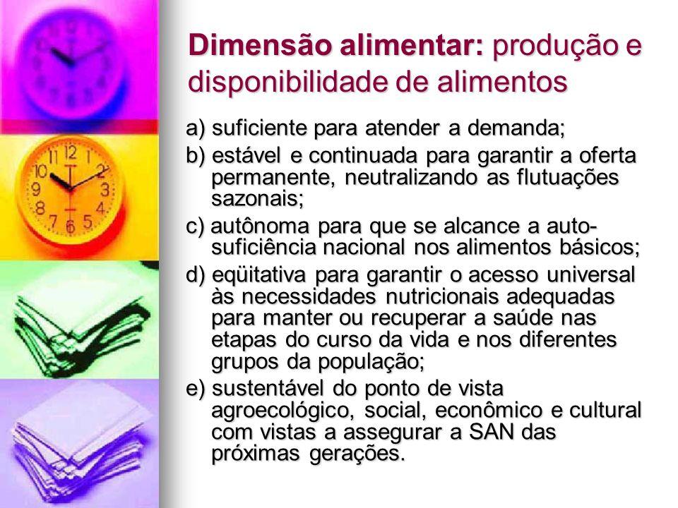 Dimensão alimentar: produção e disponibilidade de alimentos
