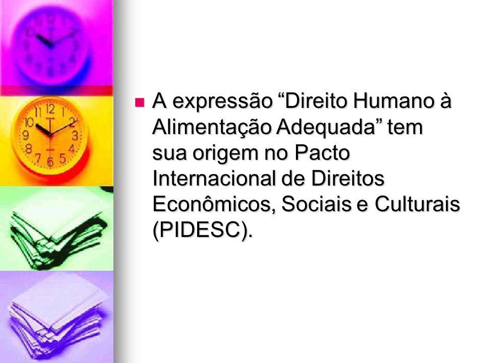 A expressão Direito Humano à Alimentação Adequada tem sua origem no Pacto Internacional de Direitos Econômicos, Sociais e Culturais (PIDESC).