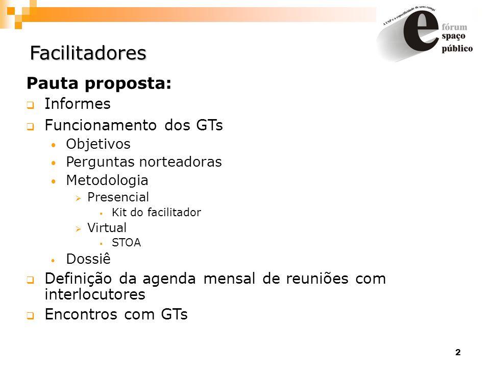 Facilitadores Pauta proposta: Informes Funcionamento dos GTs
