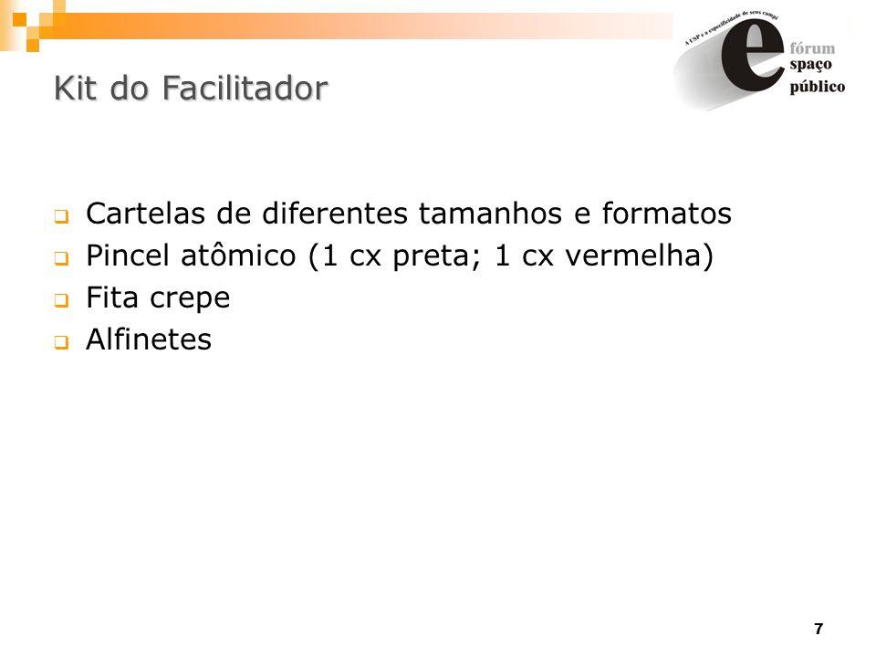 Kit do Facilitador Cartelas de diferentes tamanhos e formatos
