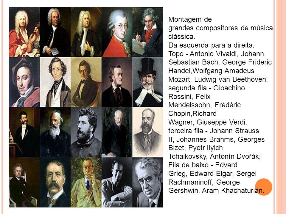 Montagem de grandes compositores de música clássica.