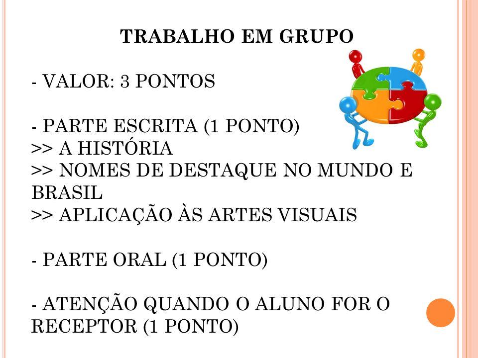 TRABALHO EM GRUPO - VALOR: 3 PONTOS. PARTE ESCRITA (1 PONTO) >> A HISTÓRIA. >> NOMES DE DESTAQUE NO MUNDO E BRASIL.