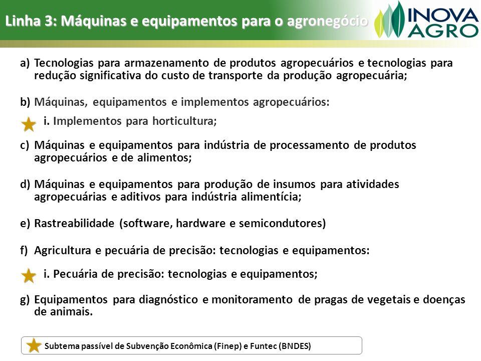 Linha 3: Máquinas e equipamentos para o agronegócio