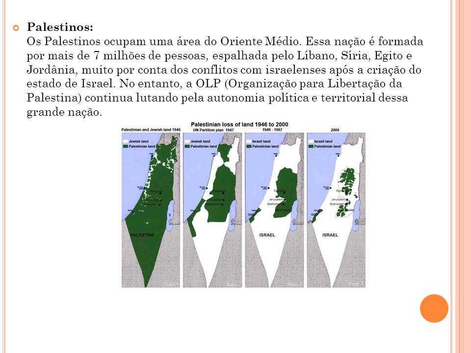 Palestinos: Os Palestinos ocupam uma área do Oriente Médio