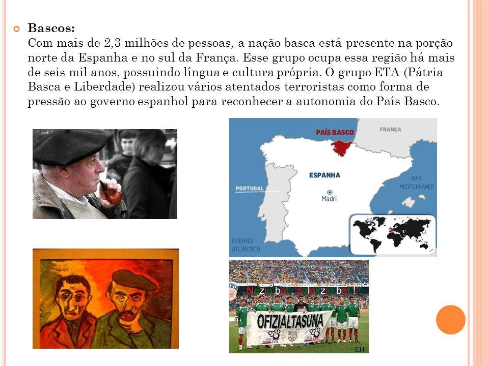 Bascos: Com mais de 2,3 milhões de pessoas, a nação basca está presente na porção norte da Espanha e no sul da França.