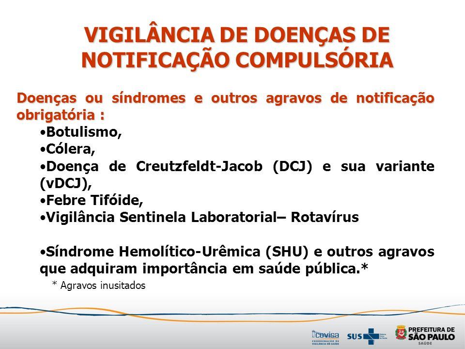 VIGILÂNCIA DE DOENÇAS DE NOTIFICAÇÃO COMPULSÓRIA
