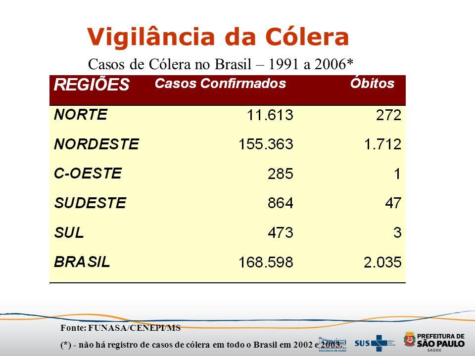 Vigilância da Cólera Casos de Cólera no Brasil – 1991 a 2006*