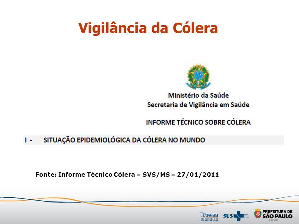 Vigilância da Cólera Fonte: Informe Técnico Cólera – SVS/MS – 27/01/2011