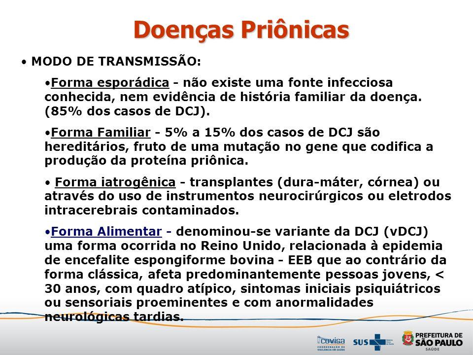 Doenças Priônicas MODO DE TRANSMISSÃO: