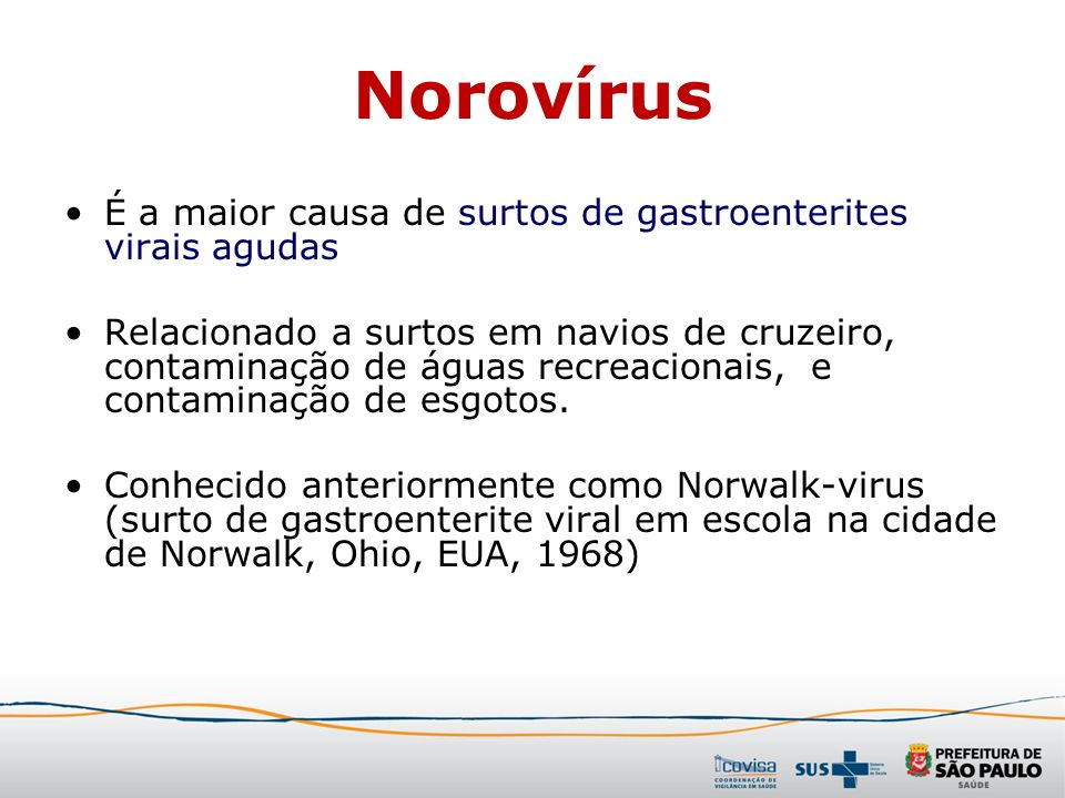 Norovírus É a maior causa de surtos de gastroenterites virais agudas