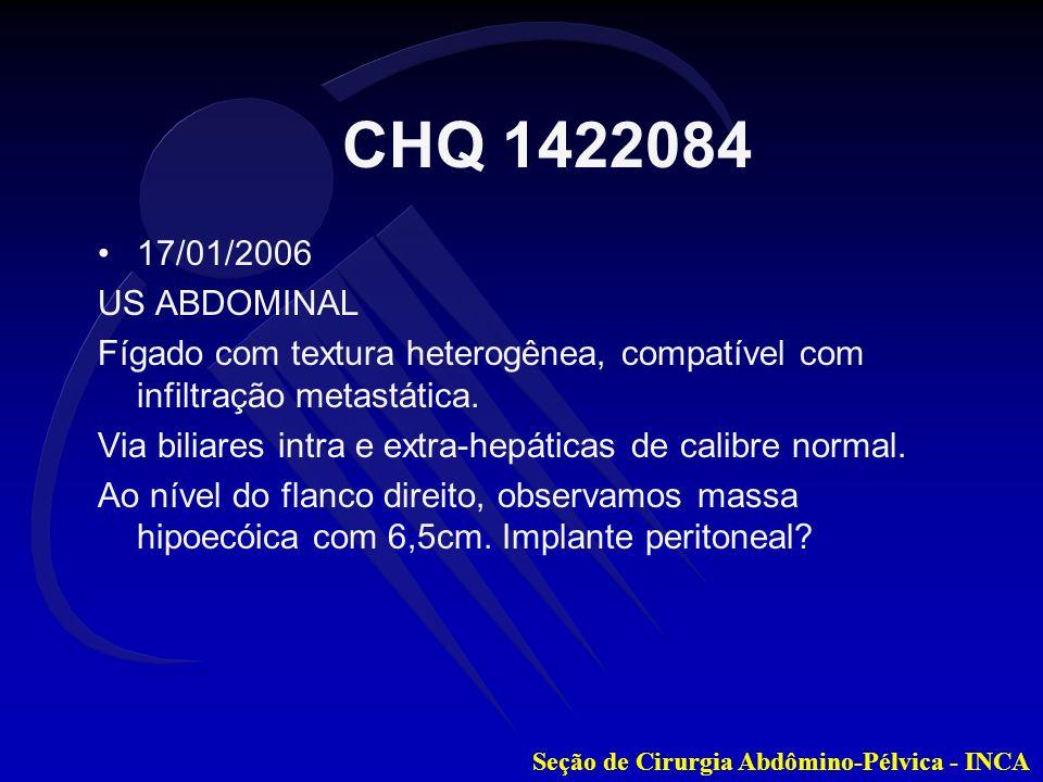 CHQ 1422084 17/01/2006. US ABDOMINAL. Fígado com textura heterogênea, compatível com infiltração metastática.