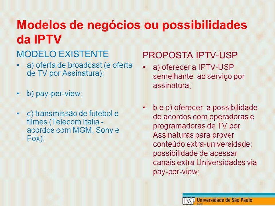 Modelos de negócios ou possibilidades da IPTV