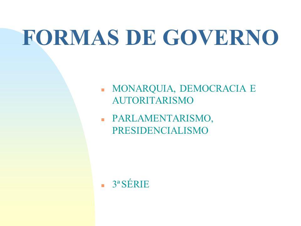 FORMAS DE GOVERNO MONARQUIA, DEMOCRACIA E AUTORITARISMO
