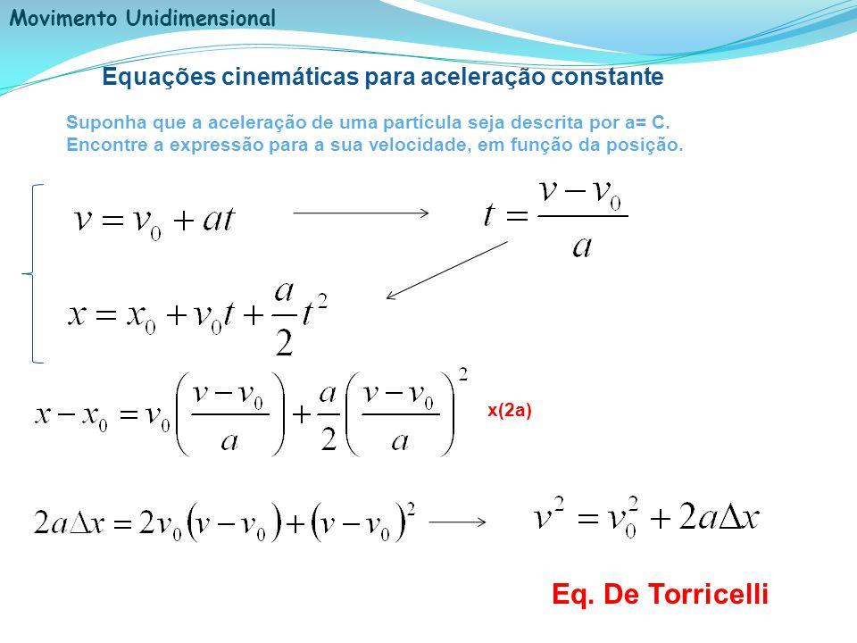 Equações cinemáticas para aceleração constante