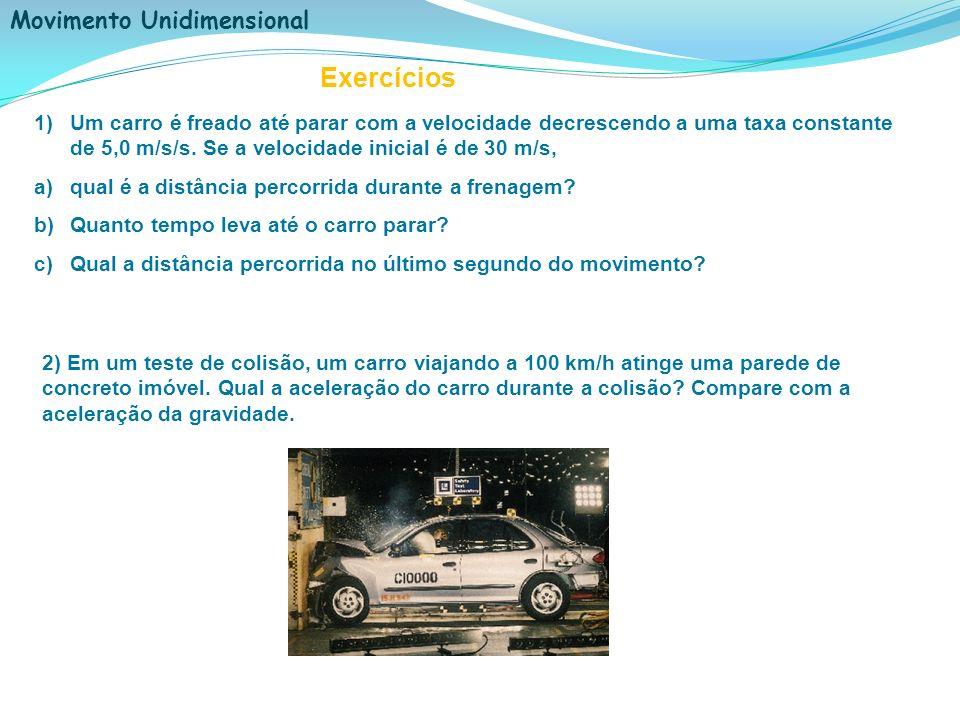 Exercícios Um carro é freado até parar com a velocidade decrescendo a uma taxa constante de 5,0 m/s/s. Se a velocidade inicial é de 30 m/s,