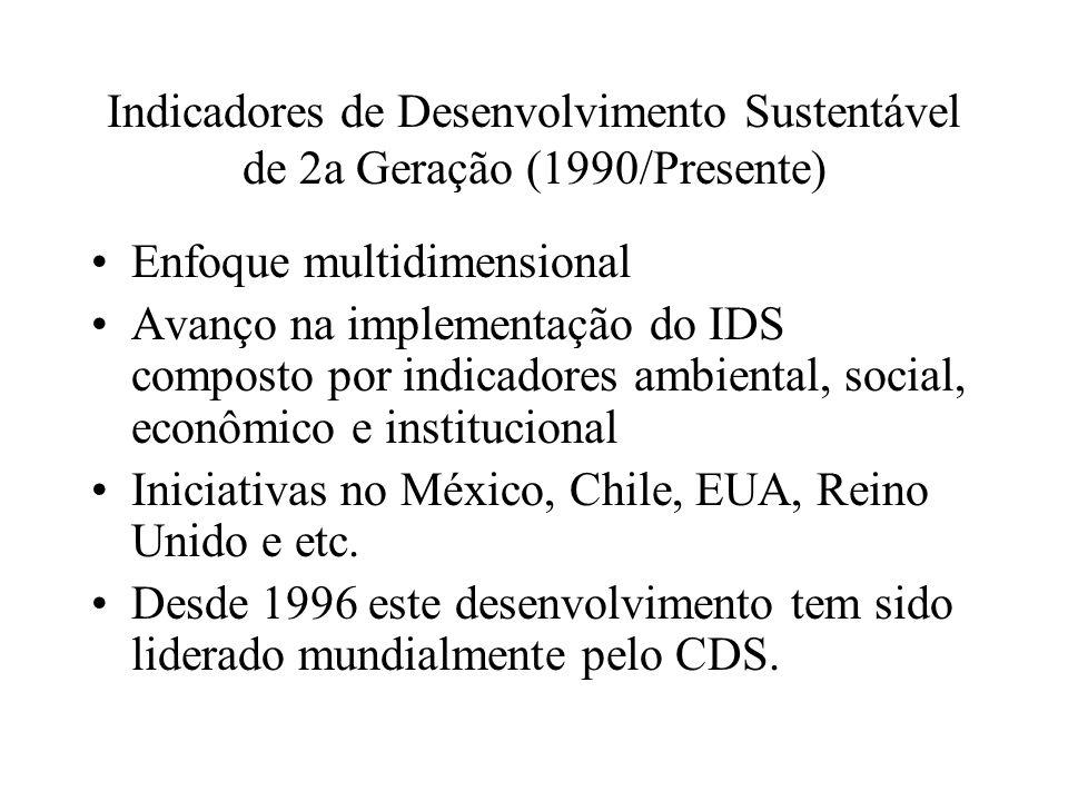 Indicadores de Desenvolvimento Sustentável de 2a Geração (1990/Presente)