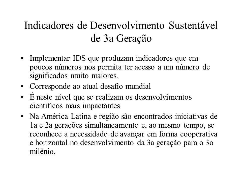 Indicadores de Desenvolvimento Sustentável de 3a Geração