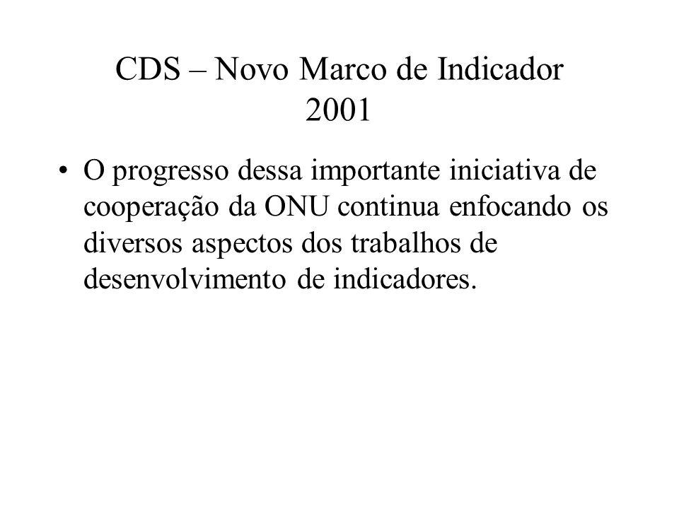 CDS – Novo Marco de Indicador 2001
