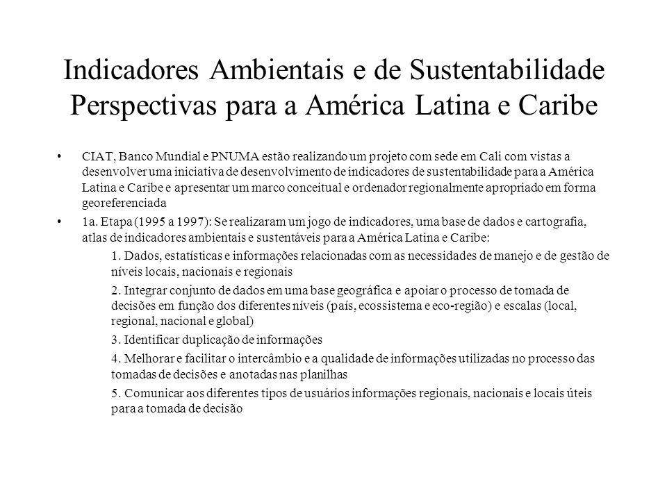 Indicadores Ambientais e de Sustentabilidade Perspectivas para a América Latina e Caribe