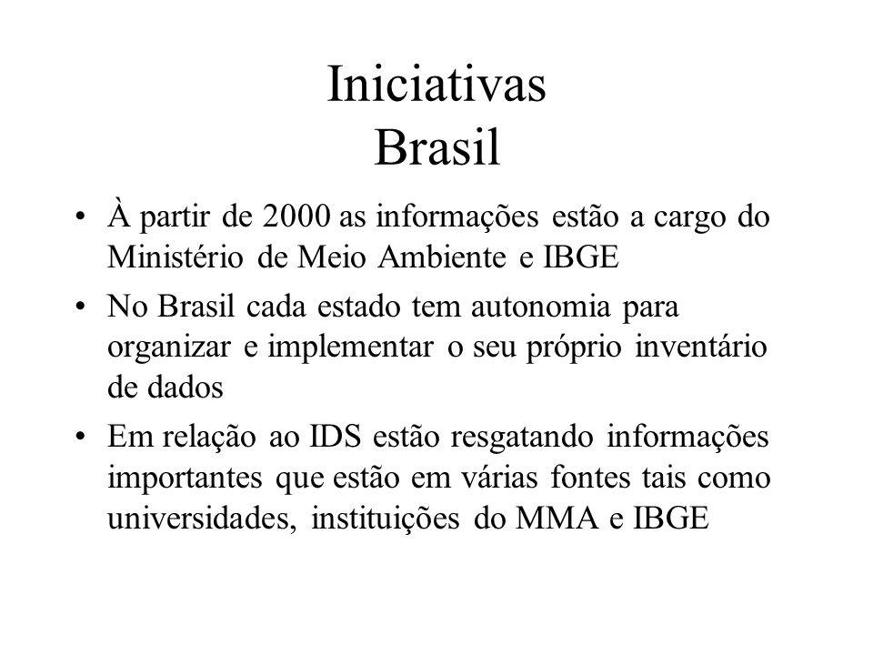 Iniciativas Brasil À partir de 2000 as informações estão a cargo do Ministério de Meio Ambiente e IBGE.