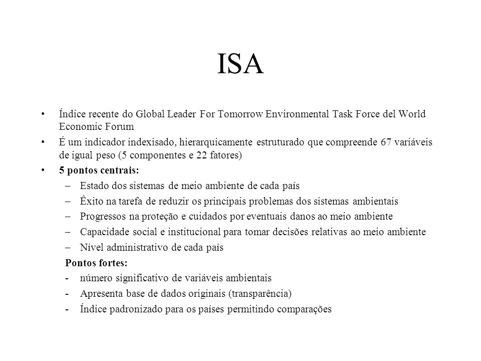 ISA Índice recente do Global Leader For Tomorrow Environmental Task Force del World Economic Forum.