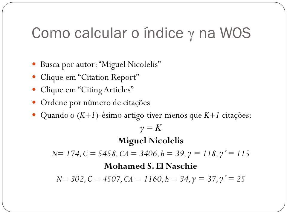 Como calcular o índice γ na WOS