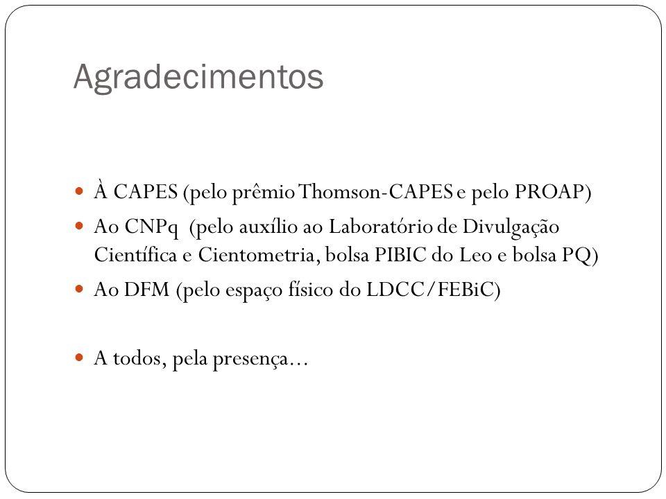Agradecimentos À CAPES (pelo prêmio Thomson-CAPES e pelo PROAP)